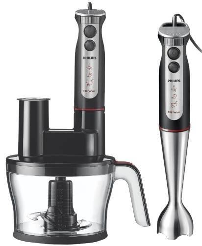 Philips HR1377/90 Pure Essentials Collection Frullatore ad Immersione con Accessorio Robot da Cucina 700 W, Barra in Metallo